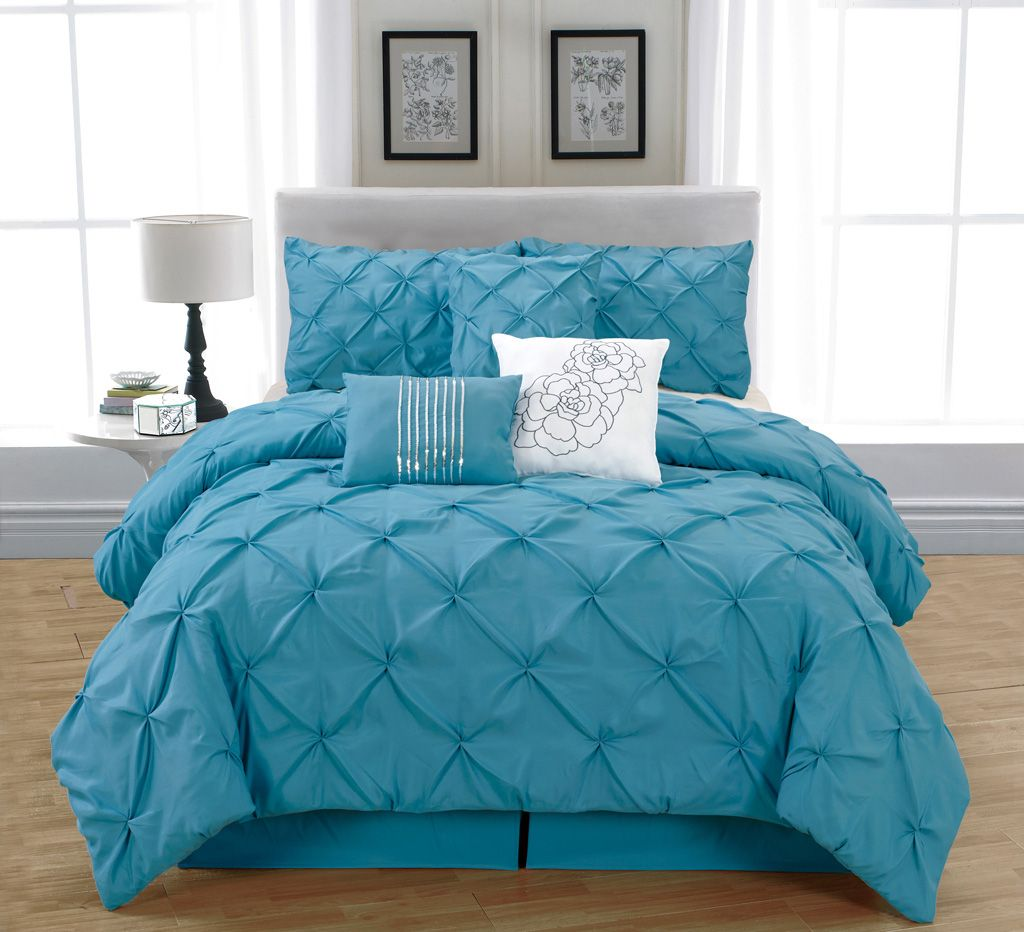 7 Piece Cal King Jolie Blue Comforter Set Blue