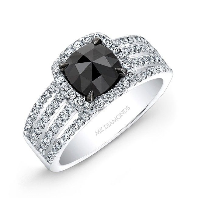 White Gold Rose Cut Black Diamond Center Engagement Ring Bridal Set