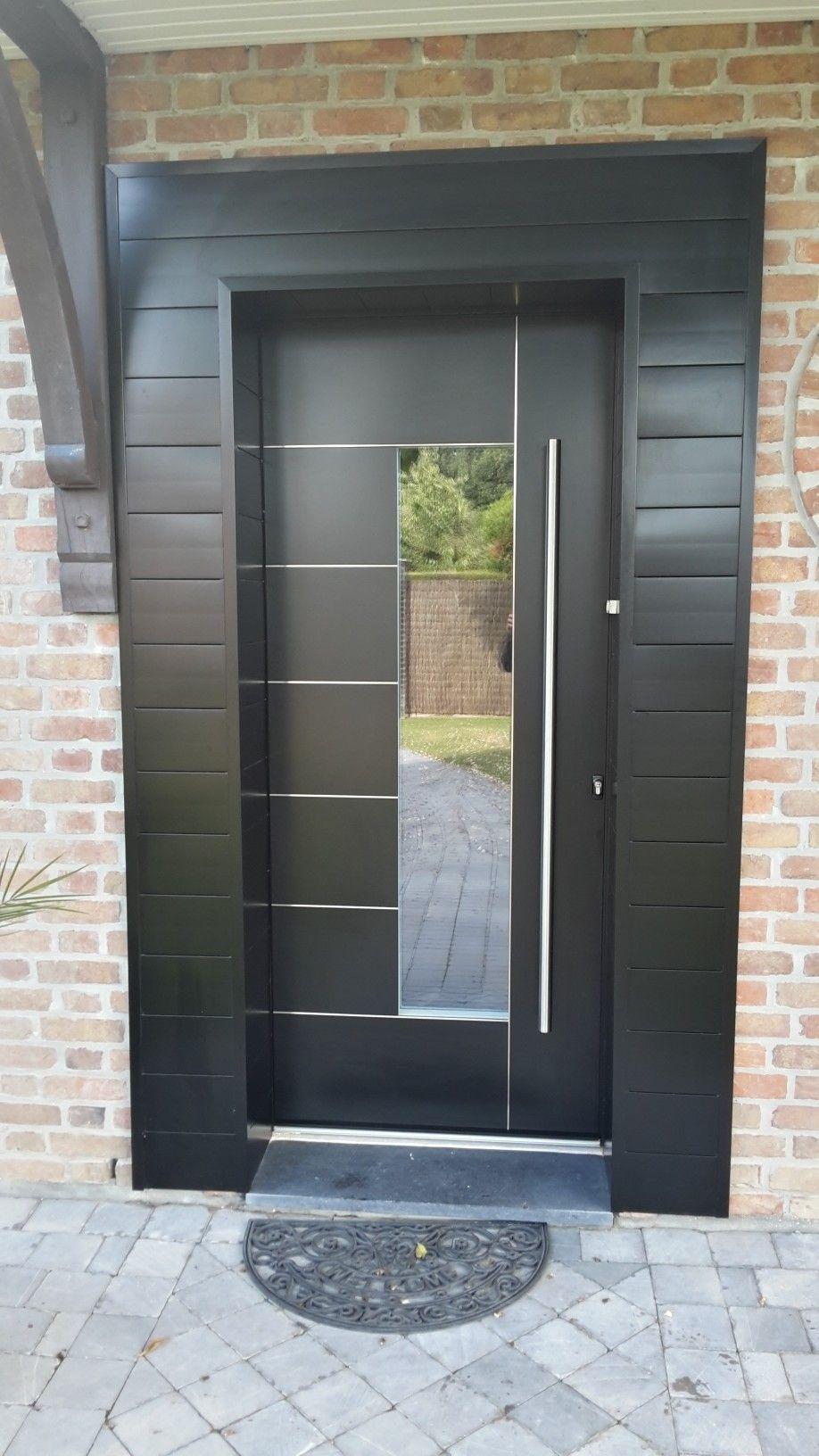 Porte Dentrée Aluminium Série Reynaers CS Modèle Adeco Metris - Porte de garage sectionnelle avec porte d entree pvc vitree