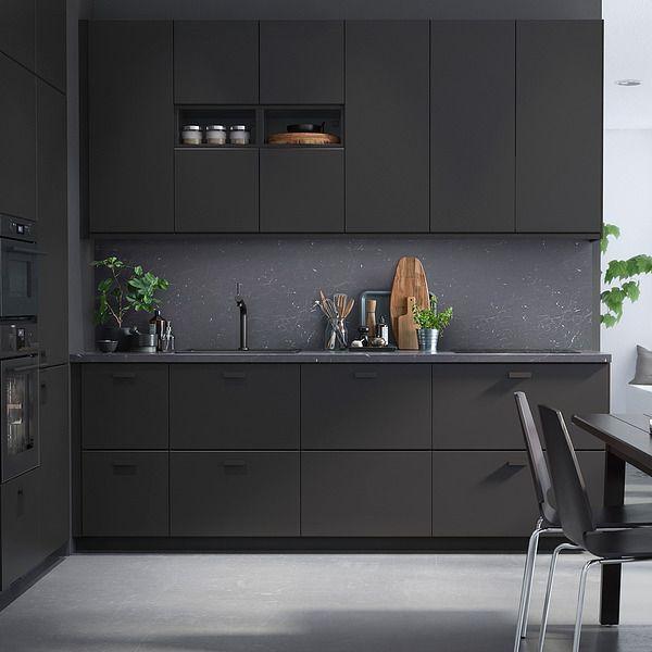 Ikea Anthracite Kitchen Cabinets Black Hardware Kitchen