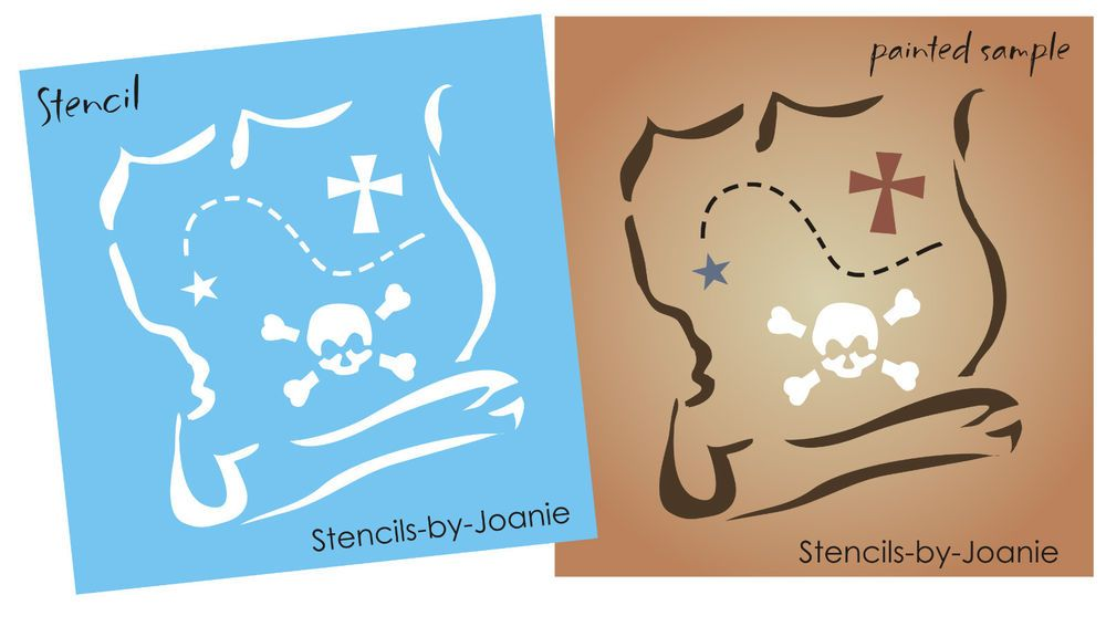 Details About Pirate Stencil 7 Treasure Map Skull Island