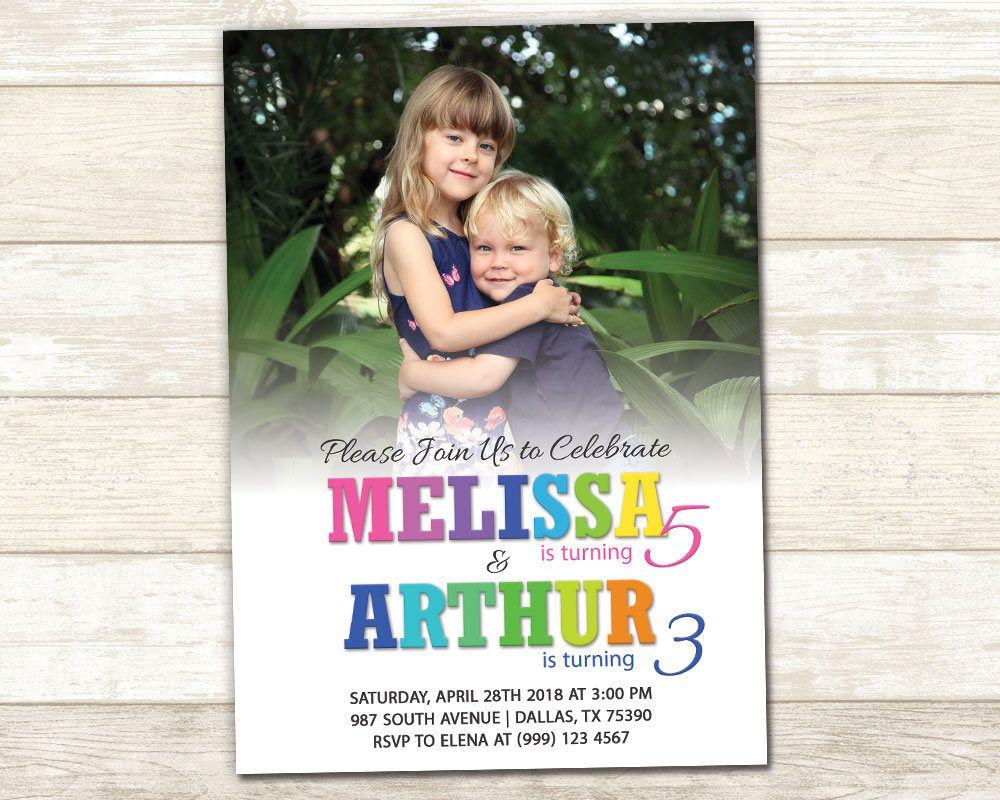 Sibling Birthday Invitation - Double Birthday Party Invitation ...