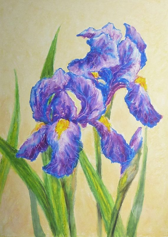 Irises Painting By Akimova Flower Garden Blue Spring By Irinart