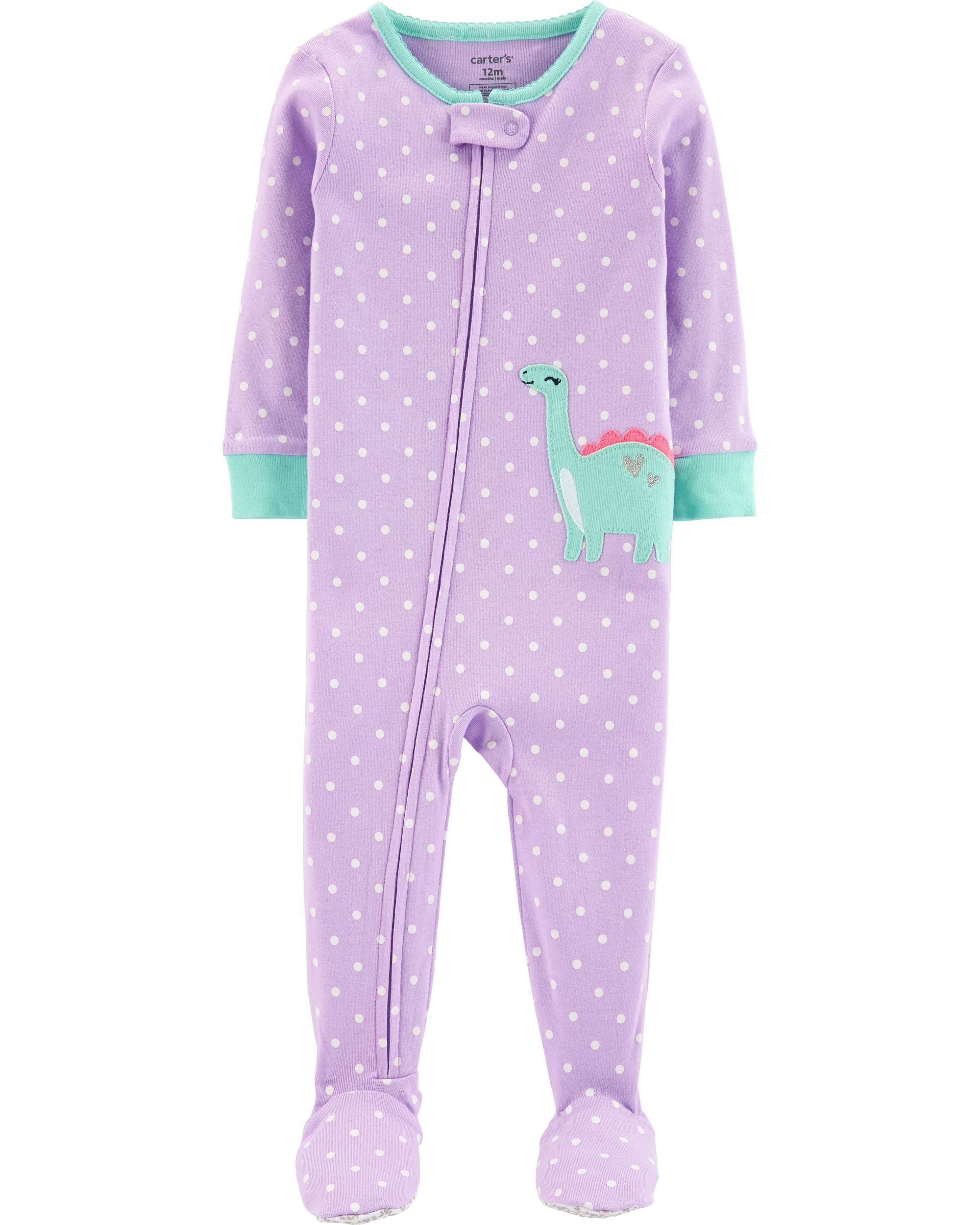 68934df0a06d 1-Piece Dinosaur Footed Snug Fit Cotton PJs