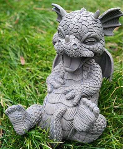 Süsser Gartendrache sitzend schaut nach oben Gartenfigur Statue Skulptur Deko