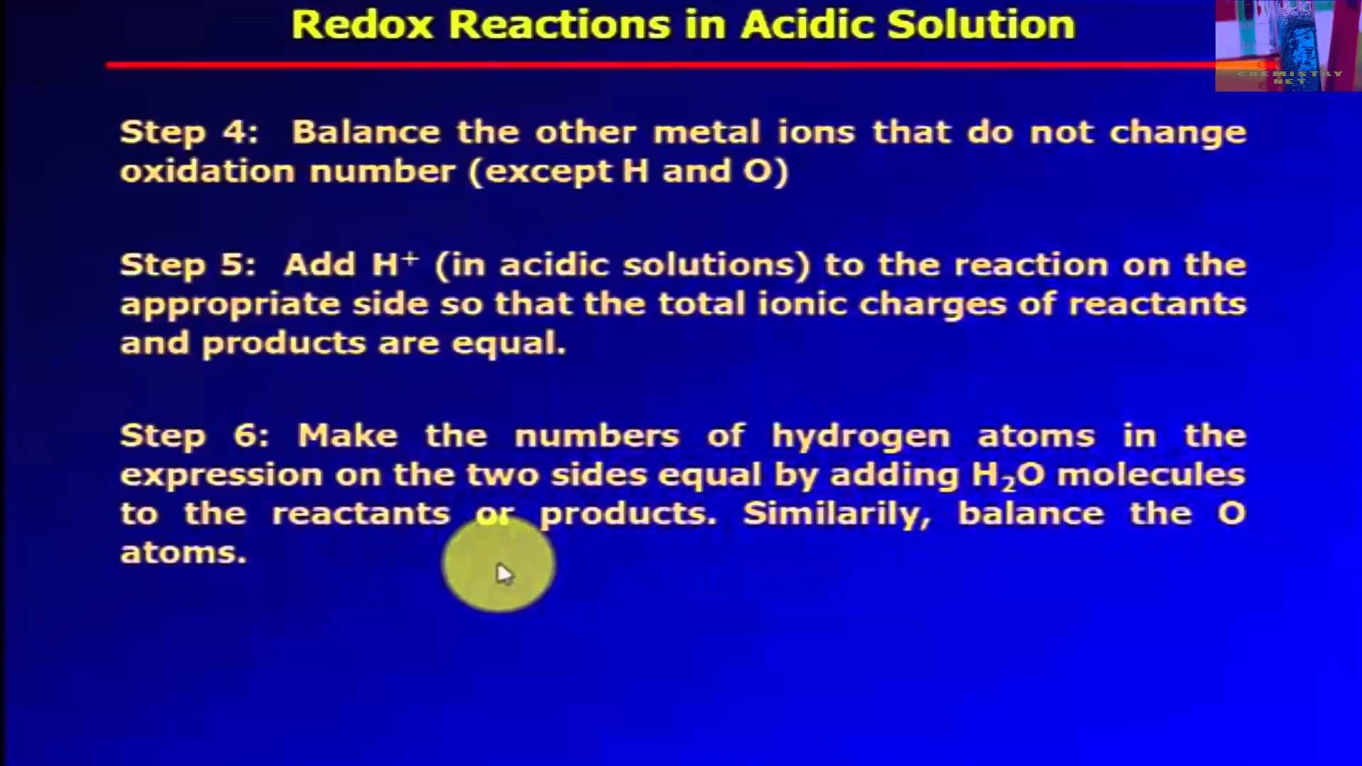 Balancing Oxidation Reduction Reactions Acidic Solution