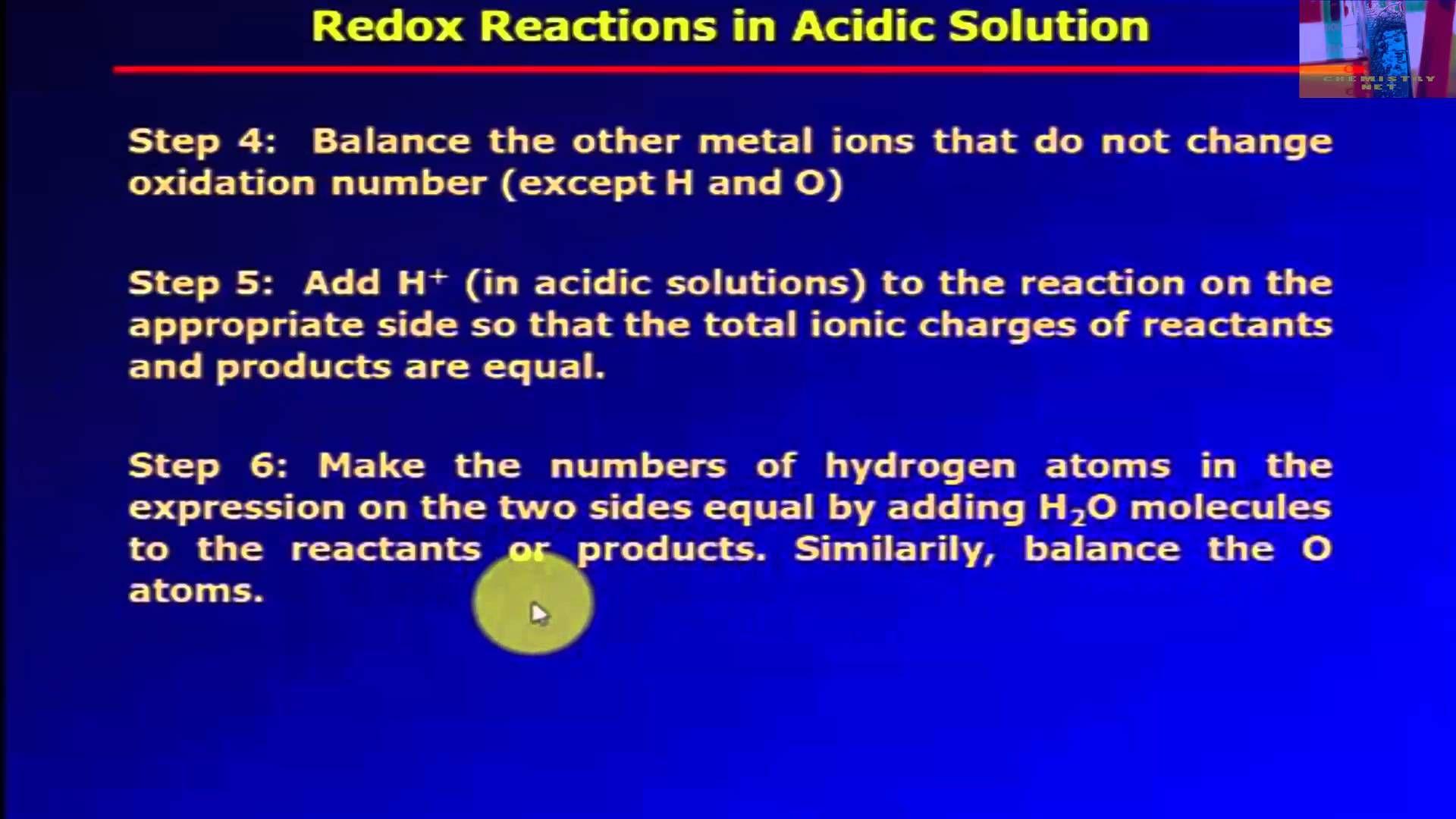 Balancing Oxidation Reduction Reactions Acidic Solution