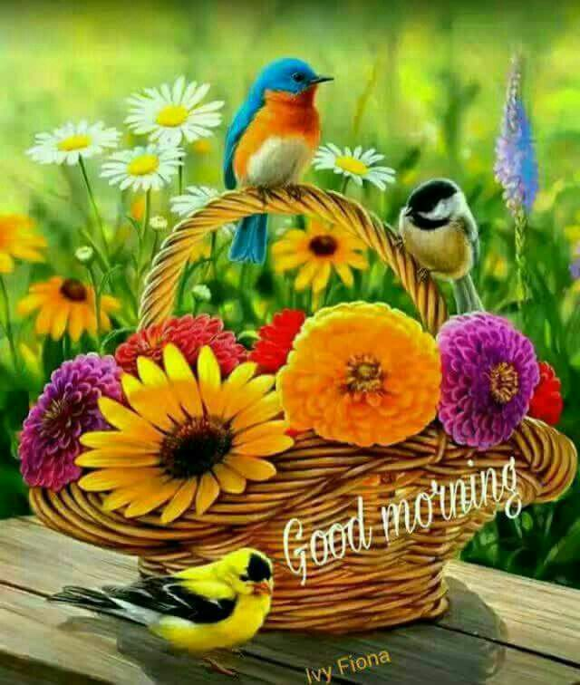 Good Morning With Colourful Flowers Birds Birds Painting Cross Paintings Art