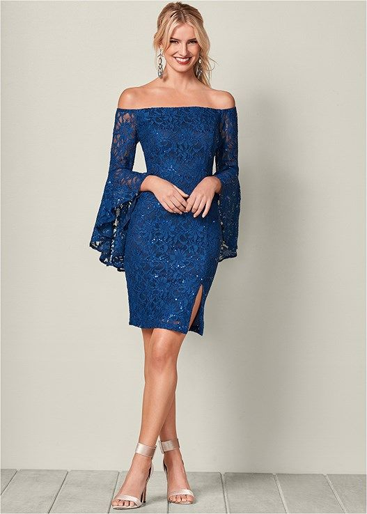 ccb1b13f0f Off the shoulder Sleeve Detail Dress has a little bit of sparkle and ...