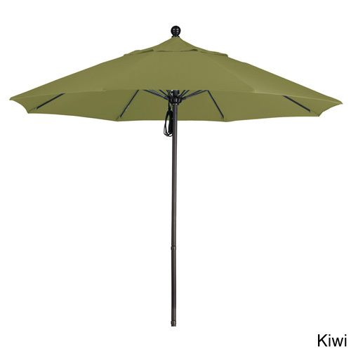 California Umbrella 9' Rd. Frame, Fiberglass Rib Market Umbrella, Push Open, Bronze Finish, Olefin Fabric