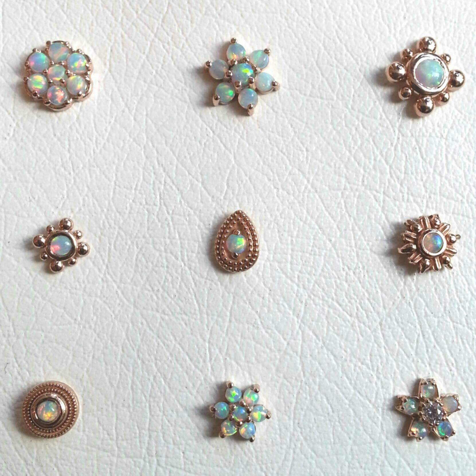 Nose piercing earrings  Brain Drops  white opal  Body Mods  Pinterest  White opal Brain