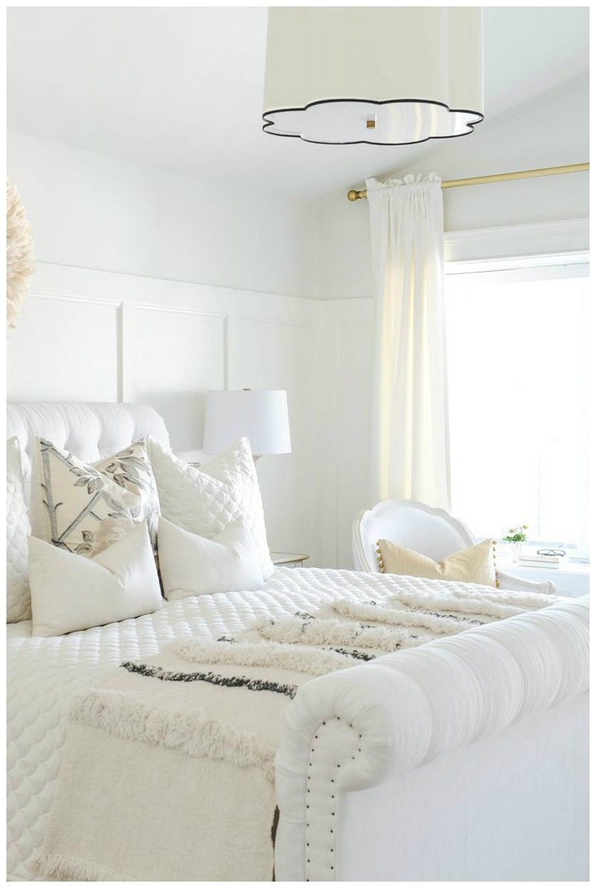 44 Stunning All White Glam Bedroom Decor With White Velvet Tufted Bed 1 Glam Bedroom Decor Home Decor Bedroom Decor