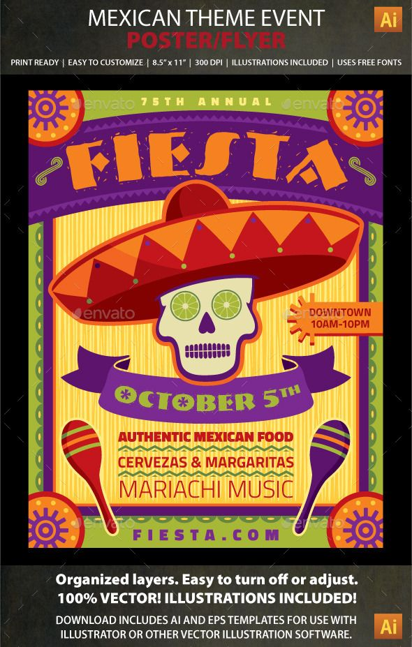 mexican theme event poster or flyer template perfect for cinco de mayo day of the dead fiesta celebrations or mexican restaurants