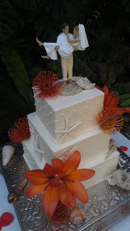 Tropical beach theme wedding cake. Like the topper, not so ...