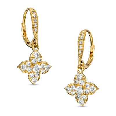 Ava Nadri Cubic Zirconia And Crystal Flower Drop Earrings In Br With 18k Gold Plate50