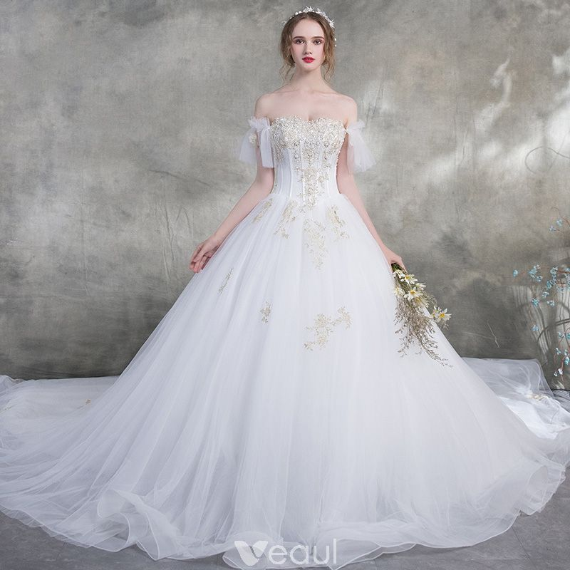 fdd5ce7f76c8 Affordable White Wedding Dresses 2018 Ball Gown Off-The-Shoulder Short  Sleeve Backless Gold Appliques Lace Pearl Ruffle Cathedral Train