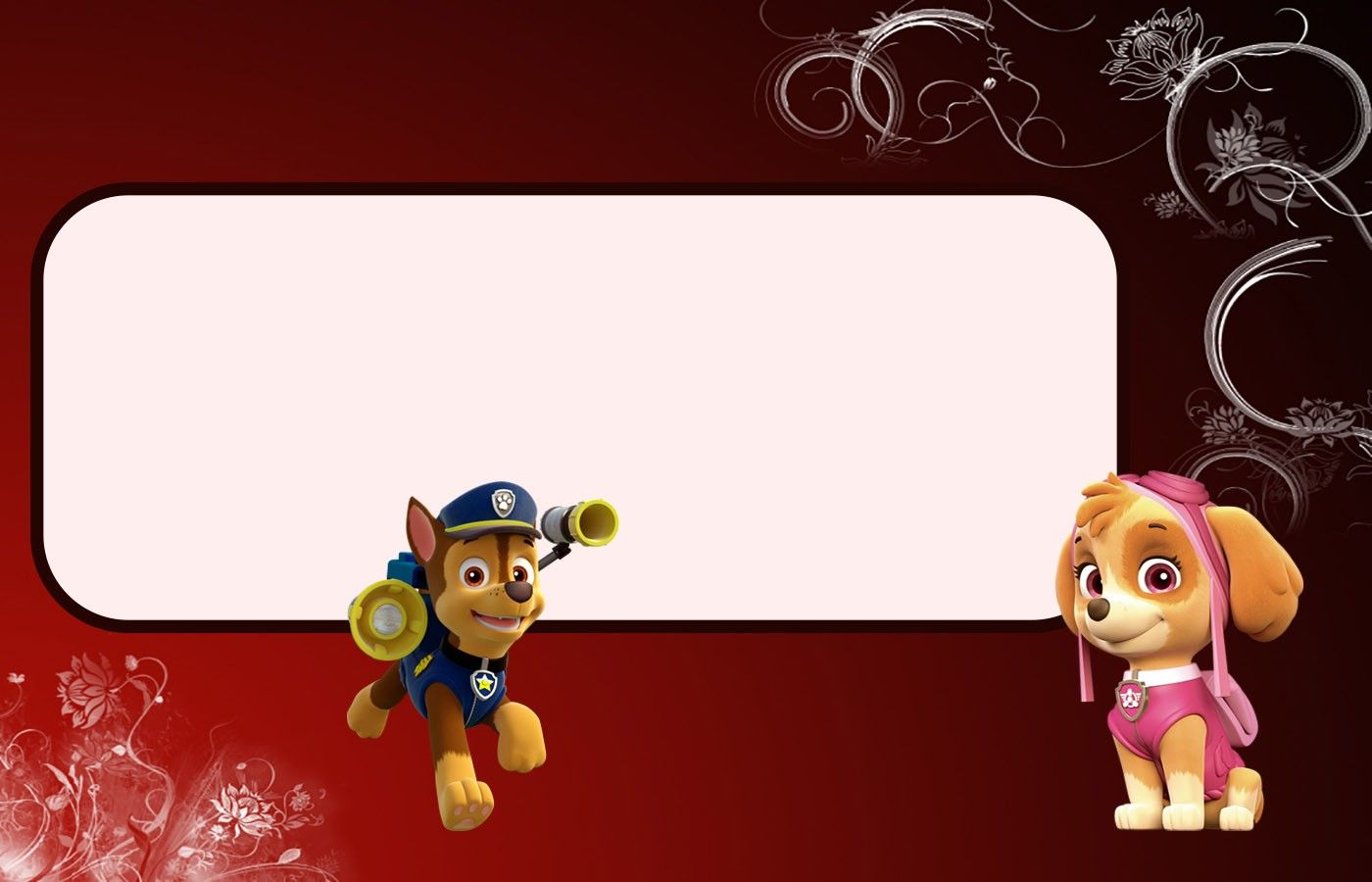 Free Printable Paw Patrol Invitation Template Chase And Skye Invitations Online Paw Patrol Invitations Birthday Invitations Diy Online Invitations