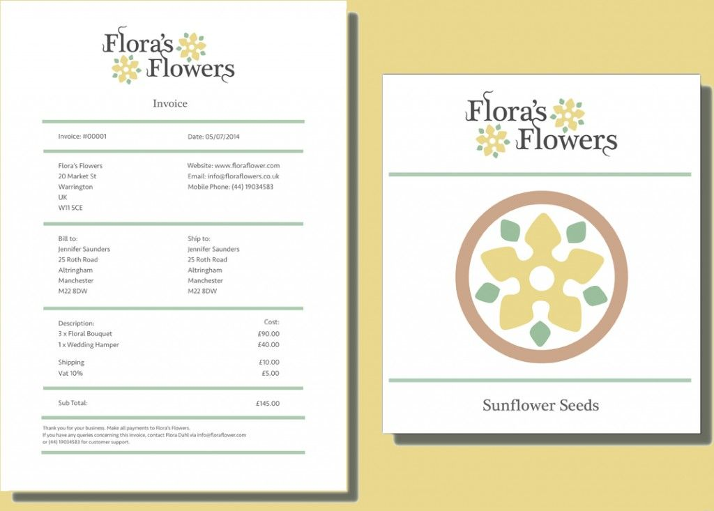Printable Flowers Shop Cash Invoice Format Template - Flower shop invoice template