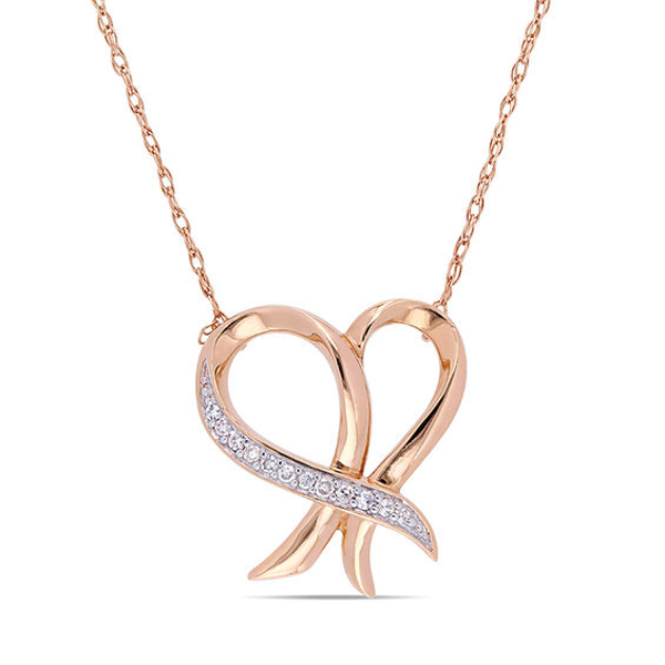 1 20 Ct T W Diamond Outline Ribbon Heart Necklace In 10k Rose Gold 17 In 2019 Products Gold Diamond Rose Gold