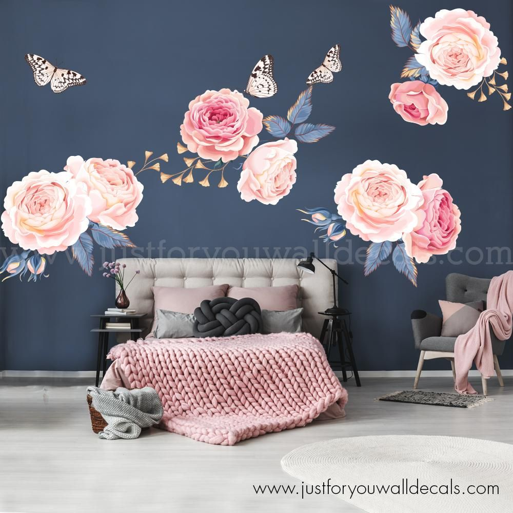 Floral Wall Decal Pink Garden Roses Flower Wall Decals