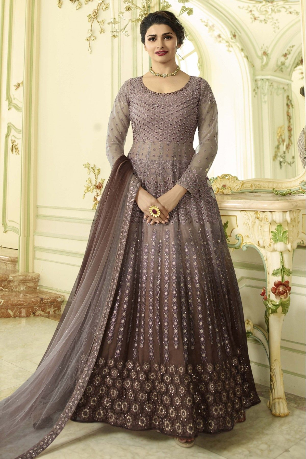 c64b4706eb0 This Exclusive Anarkali Suit Is An Ultimate Party Wear Collection With The  Mesmerizing Colours Of Brown With The Artistic Embroidery