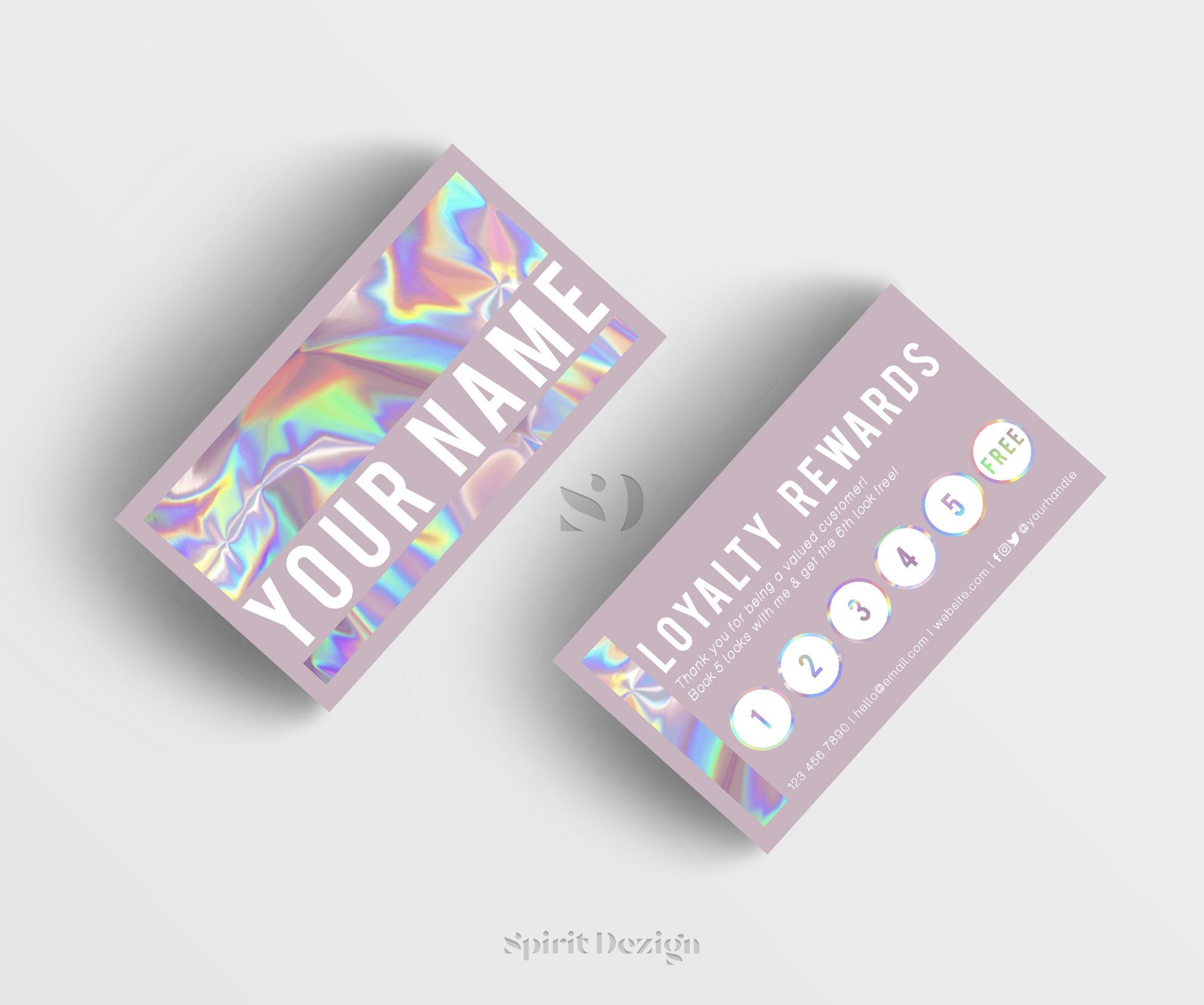 Pretty Purr Loyalty Card Holographic Business Card Design Etsy Salon Business Cards Cosmetic Business Cards Business Cards Creative