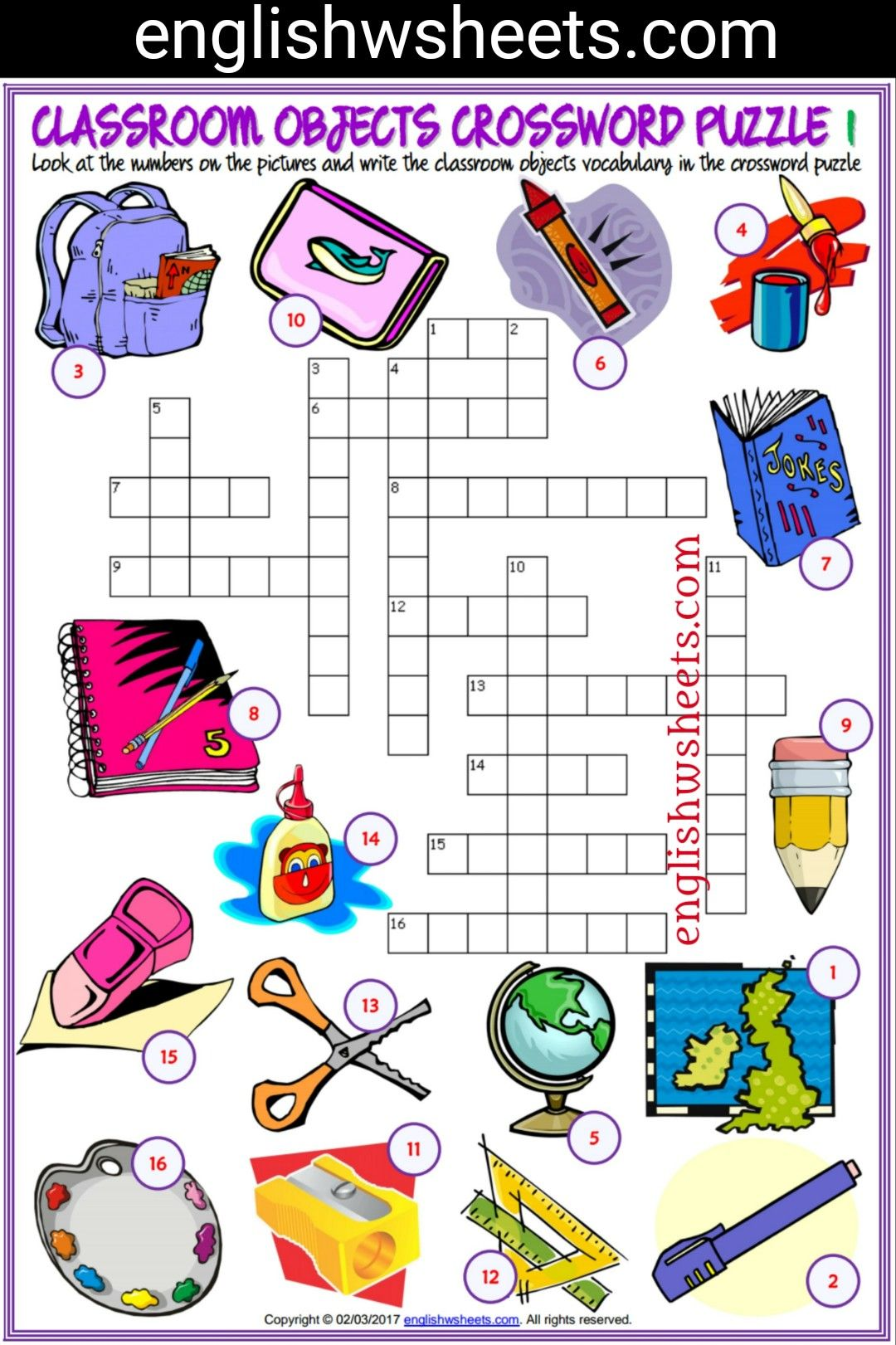 Classroom Objects Esl Printable Crossword Puzzle Worksheets For Kids Classroom Objects Esl