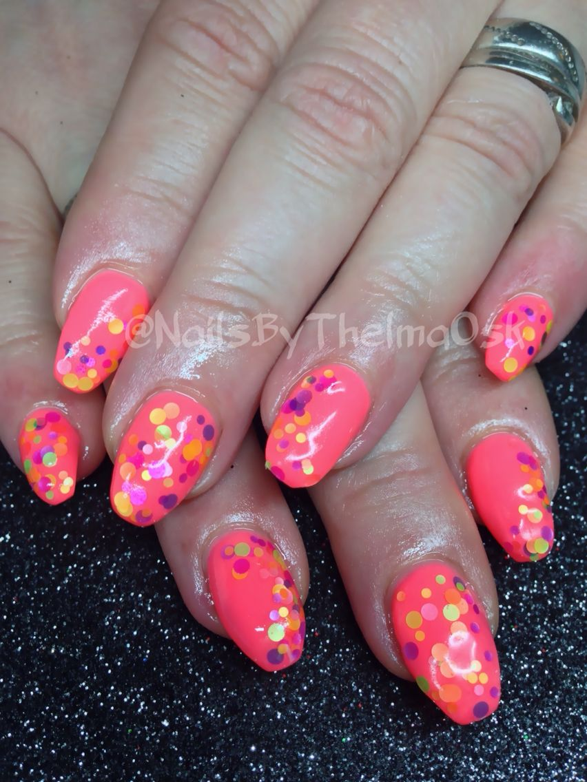 Neon peach coral with confetti | Lovely Nails | Pinterest | Confetti