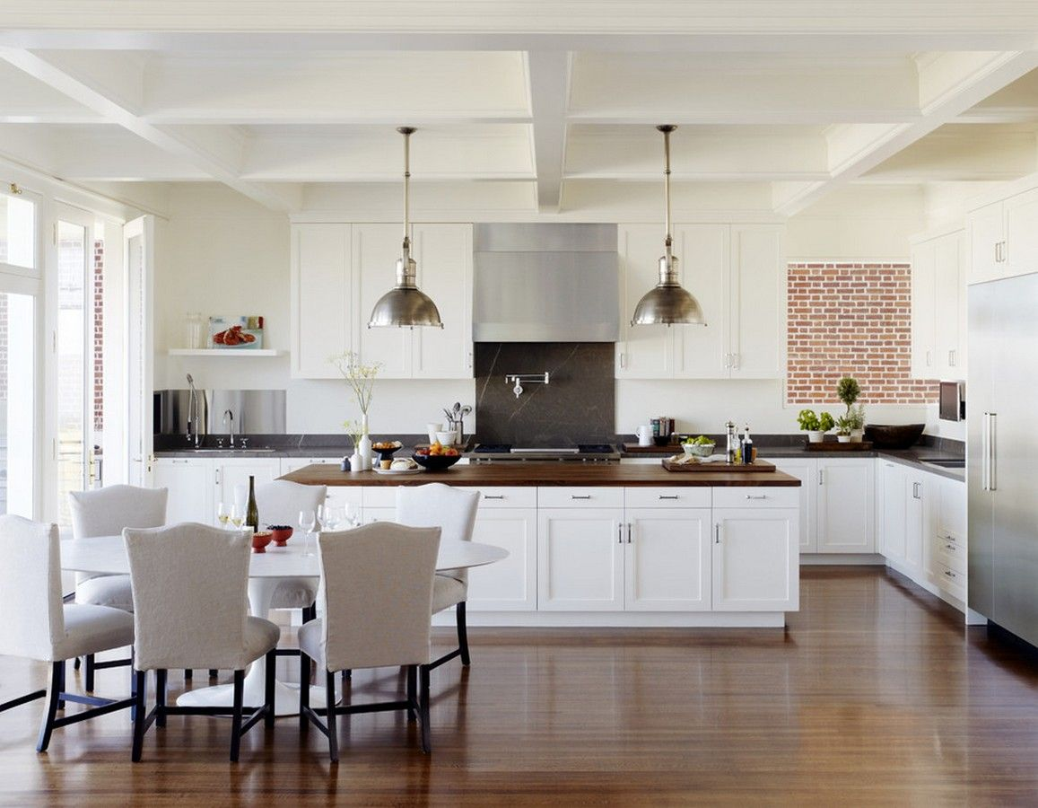 Picture of Traditional Dining Room and Kitchen Design with White ...