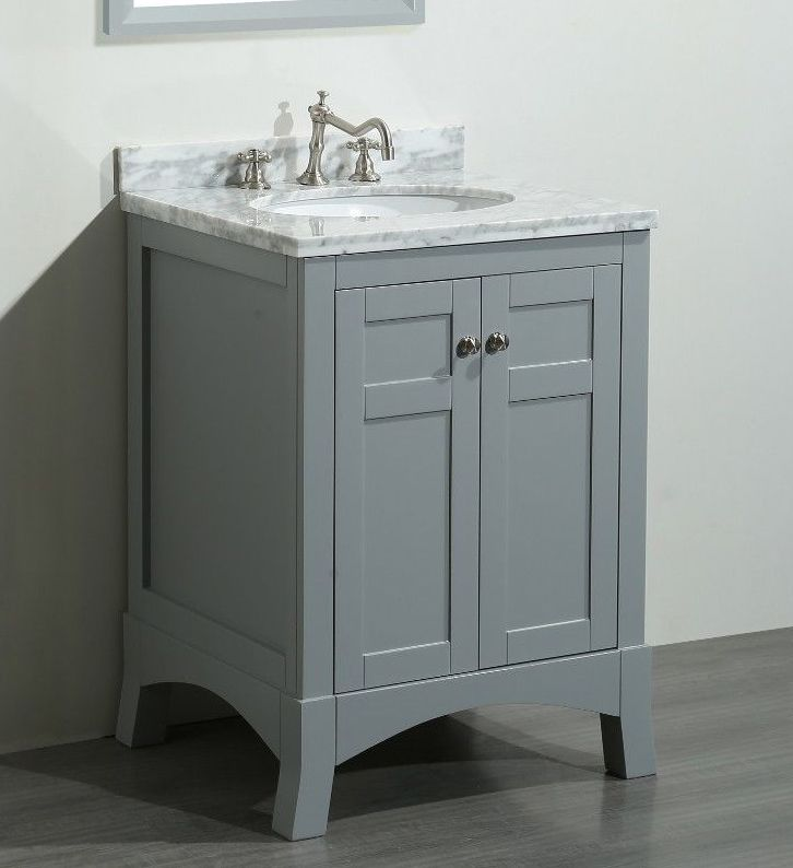 Transitional 24 Inch Gray Bathroom Vanity With Marble Carrera Top