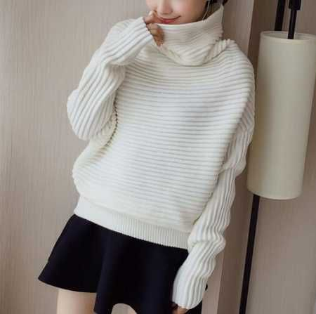 Plain white cowl neck sweater for women ribbed knit sweaters ...