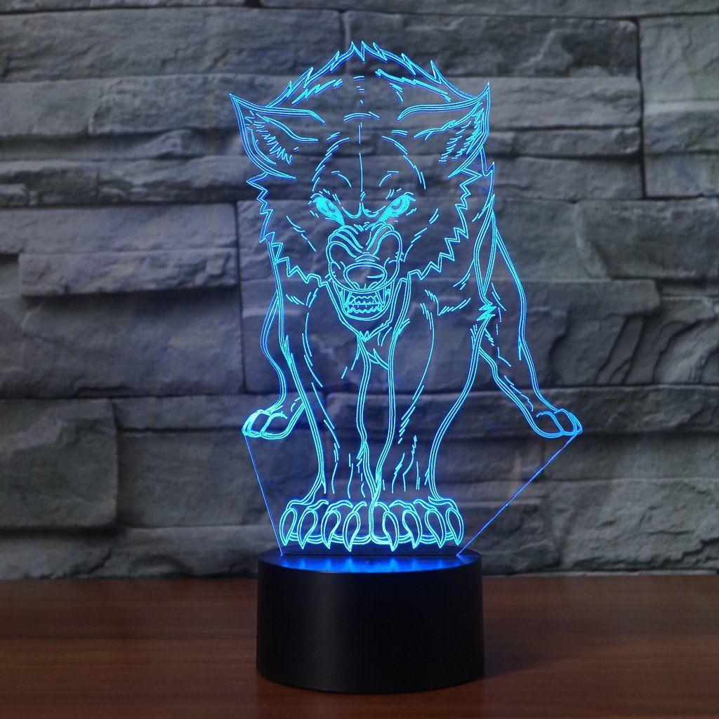 Led Fierce Wolf Lamp 3d Optical Illusions Art Lamp Led