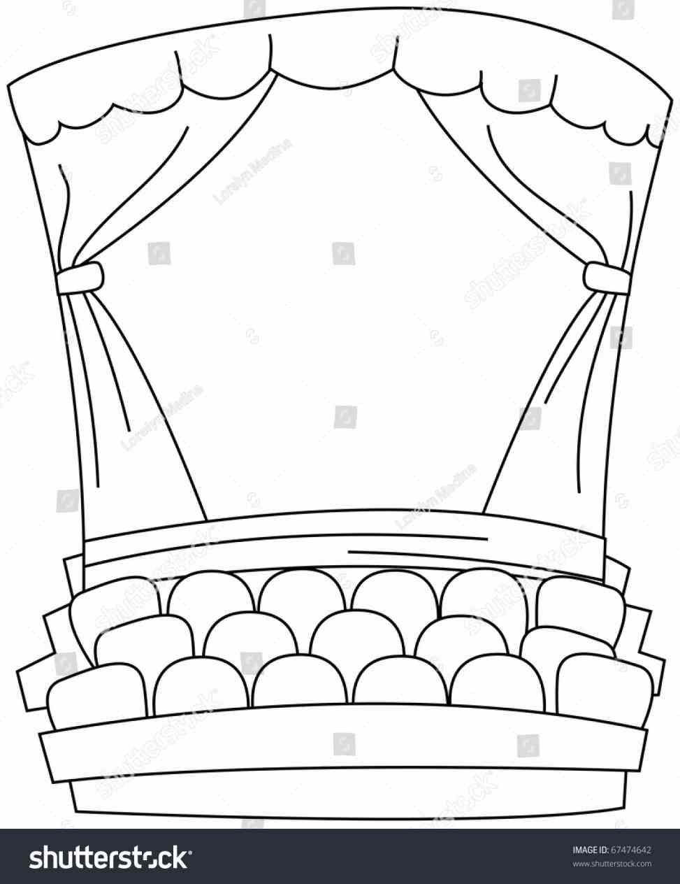 Black And White Stage Curtain Coloring Page Coloring Pages