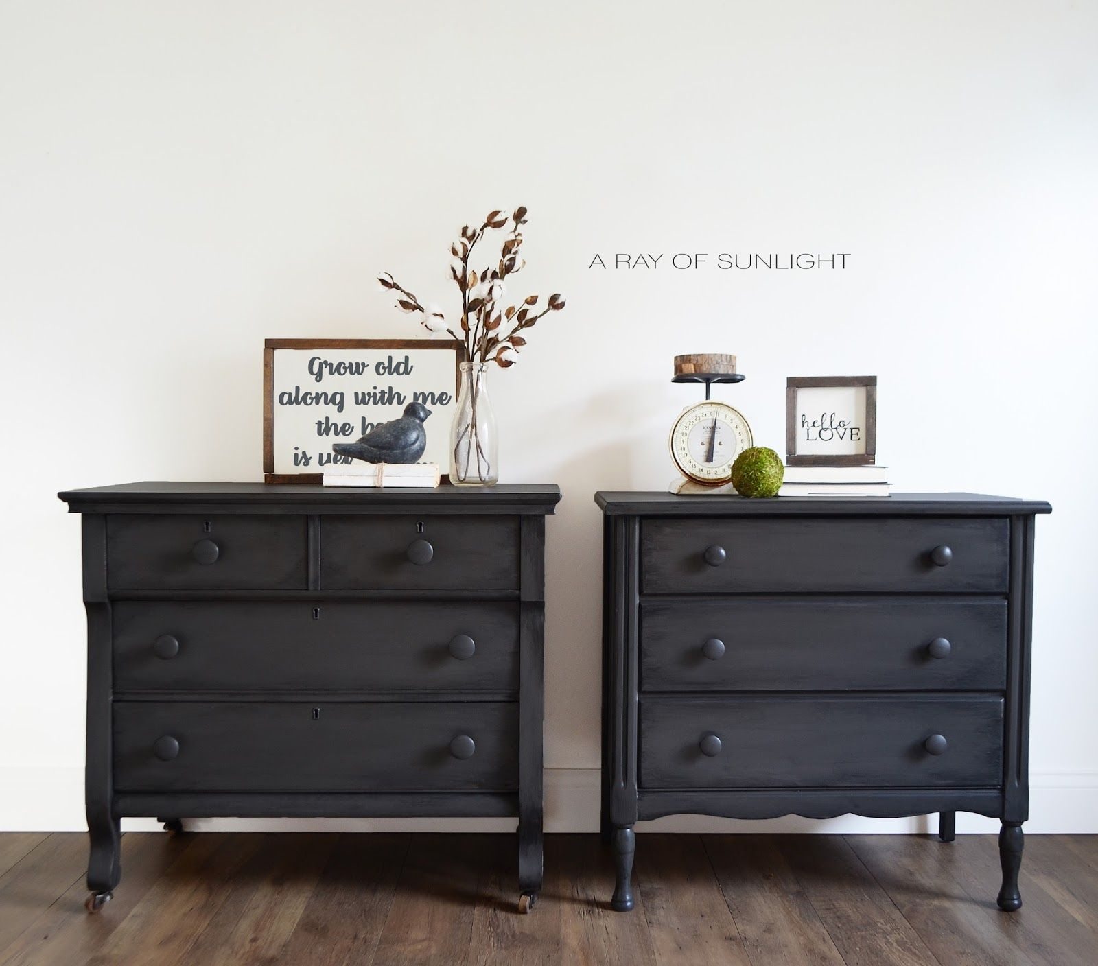 His And Hers Mismatch Grey Nightstands Or Dressers In Urbane Bronze With Black Antique Glazing By A Ray Of Sunl Furniture Home Furniture Living Room Furniture