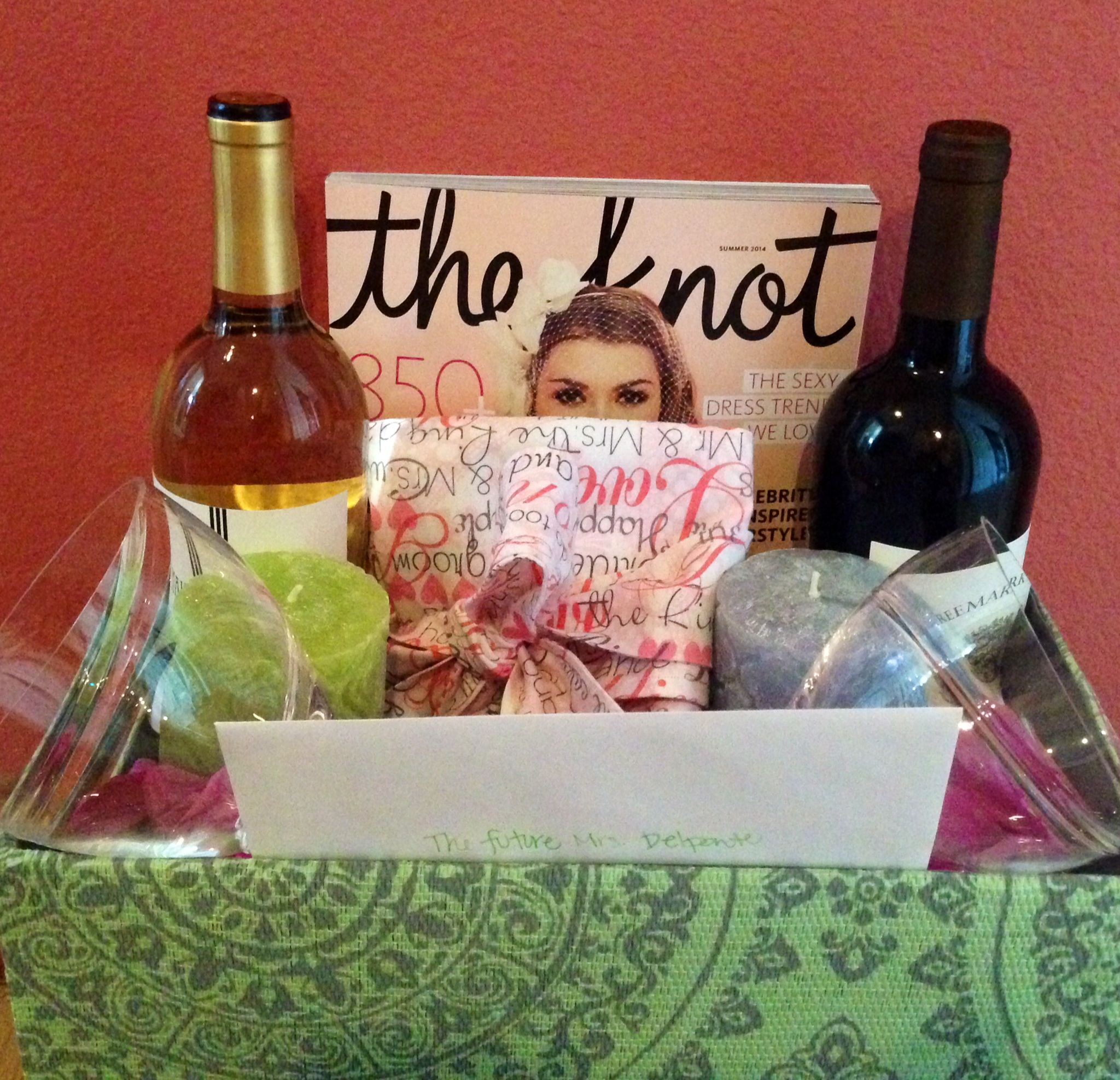 Congratulations On Your Engagement Basket! Candles, Wine
