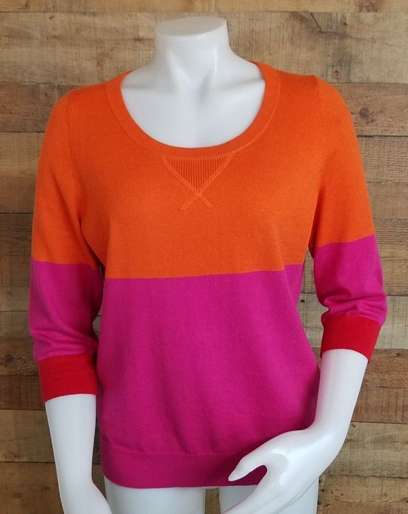 a8f28ea45ad Womens Cashmere Blend Sweater Size Large Orange Pink Red Colorblock 3 4  Sleeve  JCP  PulloverSweater