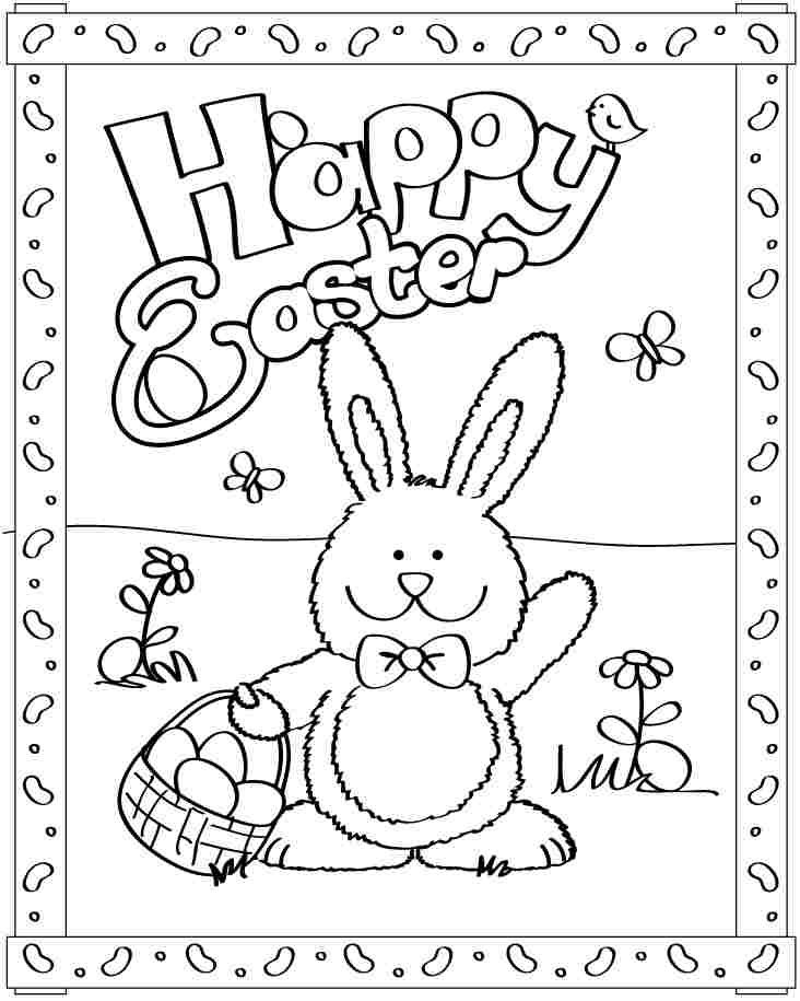 Happy Easter Bunny coloring pages, Easter bunny