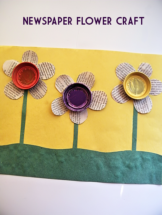 Amazing Newspaper Craft Ideas For Kids Part - 12: Reuse And Recycle Earth Day Newspaper Flowers Craft