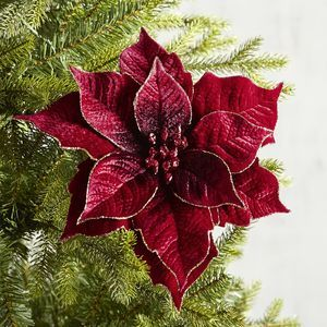 Red Velvet Poinsettia Clip Ornament Pier 1 Imports Poinsettia Decor Christmas Tree Decorations Christmas Ornaments