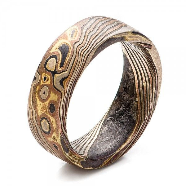 Custom Men S Mokume Wedding Band Rings Wedding Bands Jewelry Rings