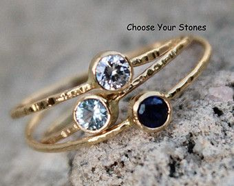 SOLID 14k Gold Choose Three Stones Set of Three Tiny by MARYJOHN