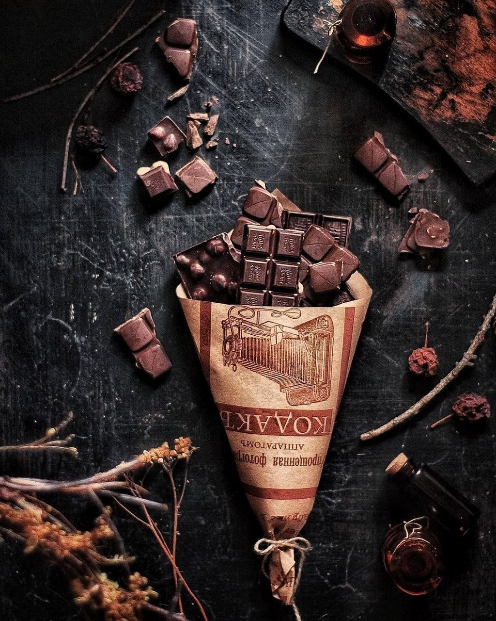 books and chocolate photography