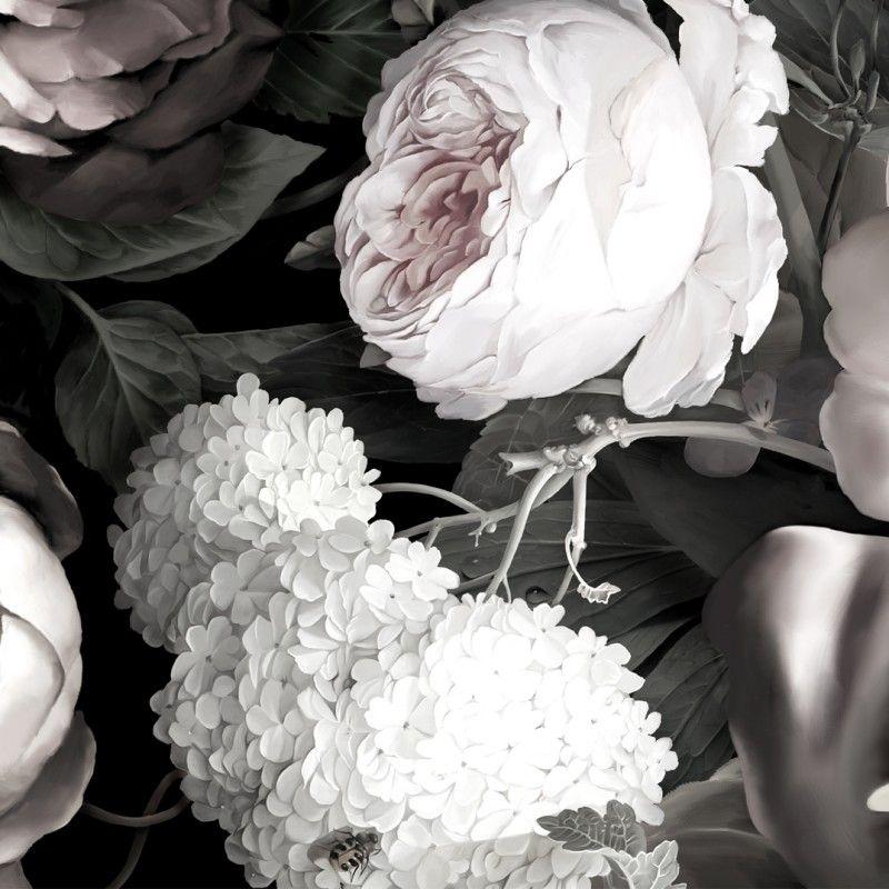 Dark Floral II Black Desaturated Wallpaper   Black floral ...