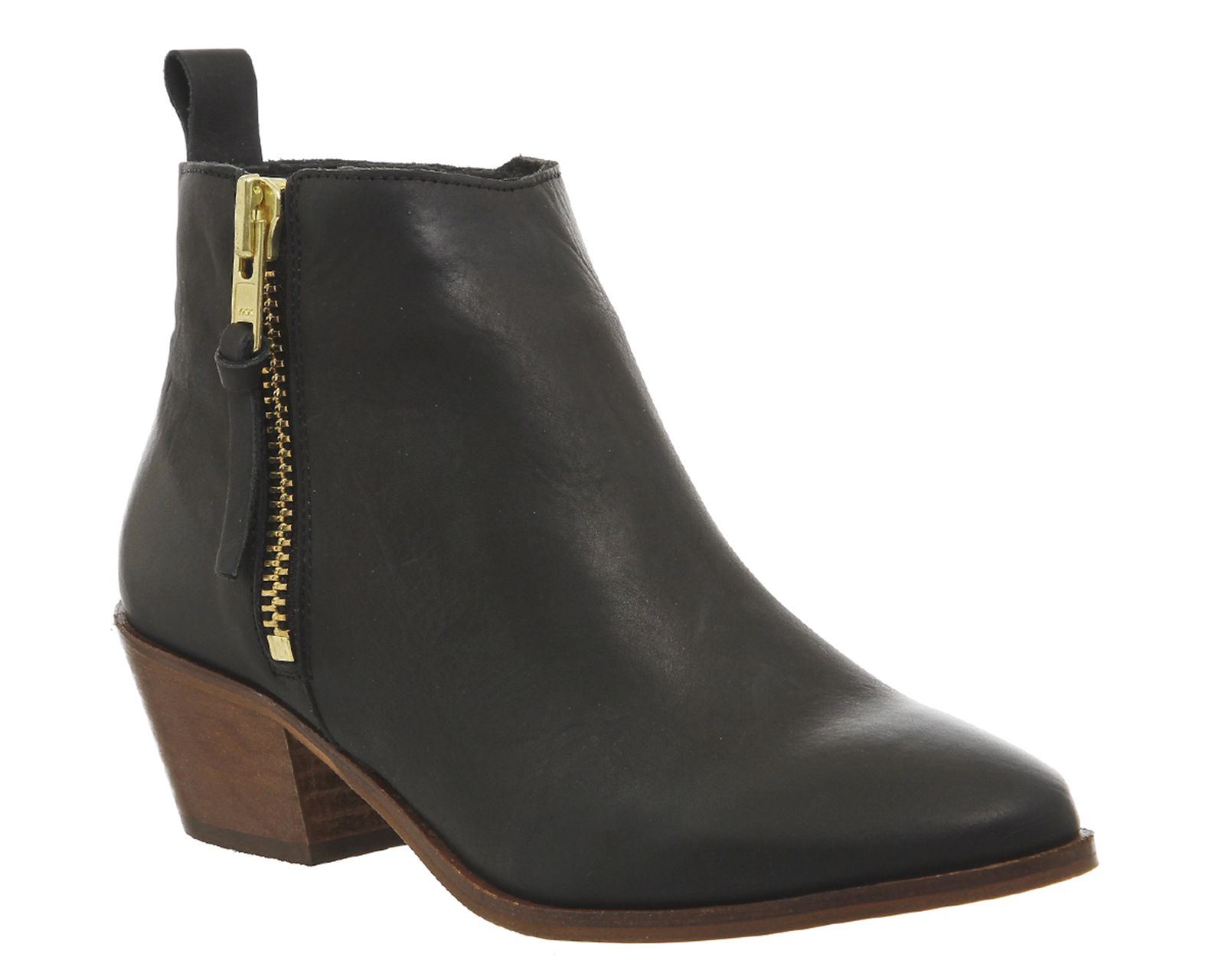 Office Imposter Side Zip Ankle Boots Black Leather - Ankle Boots ...