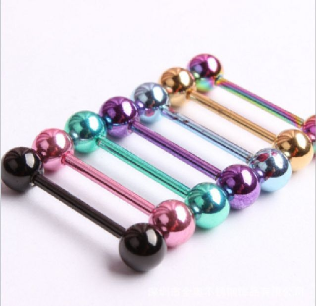 5 Pcs 14G Surgical Steel Mixed Barbell Bar Tounge Rings Piercing Body JewelrNIU