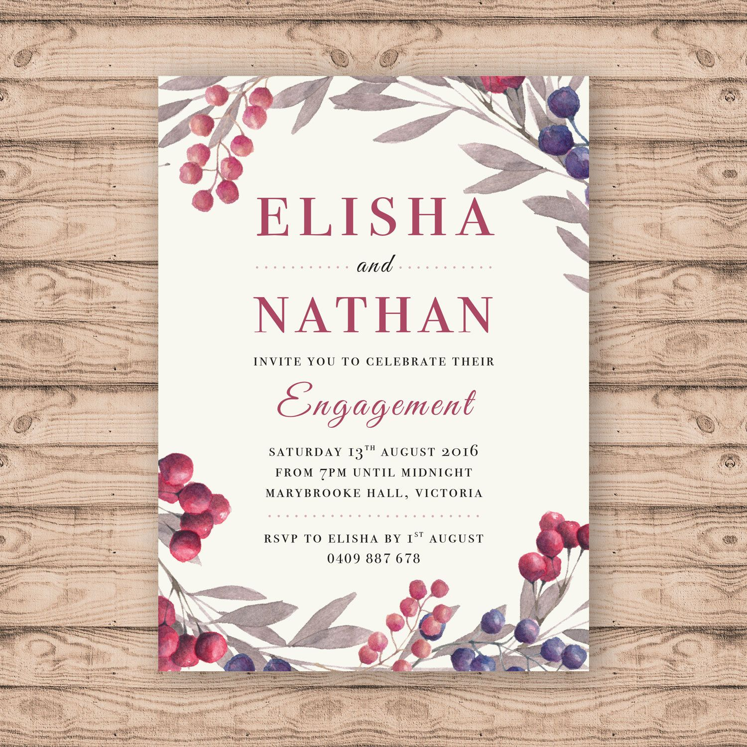 Watercolour Engagement Invitation - Print At Home File or Printed ...