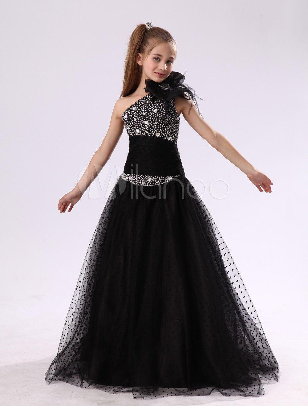 7f77b2b067c Flower Girl Dresses Black One Shoulder Junior Bridesmaid Rhinestone ...
