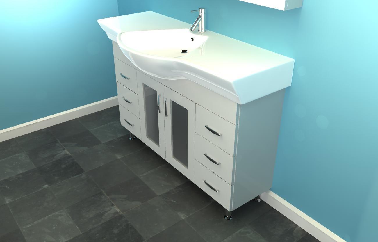 Narrow Bathroom Vanities Eurofit 47 White Sink Cabinet Vanity Ebay
