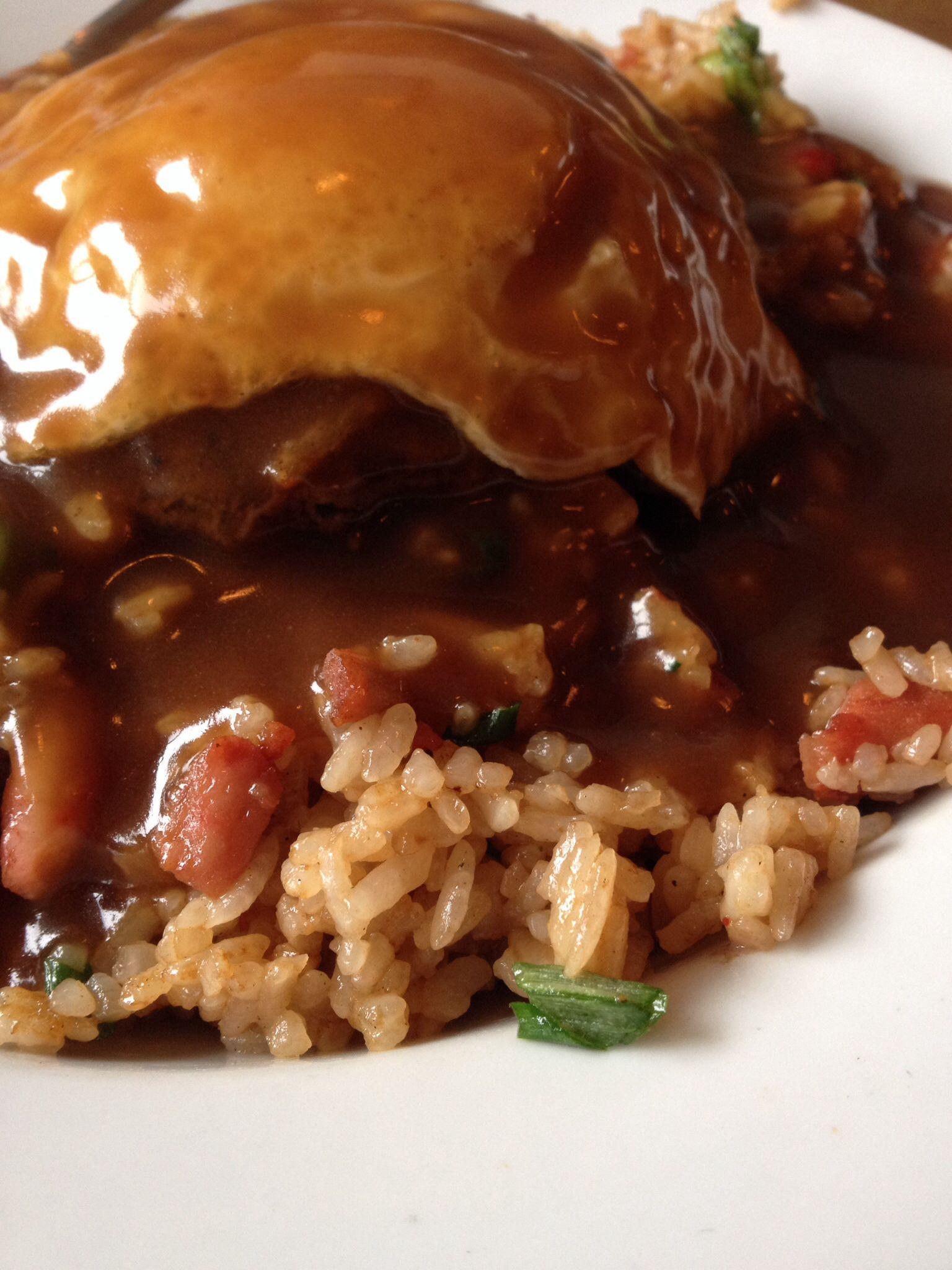 Best Comfort Food Hangover Remedy Fried Rice Loco Moco At Kona Kitchen Seattle Wa Food Tummy Yummy Kona Kitchen