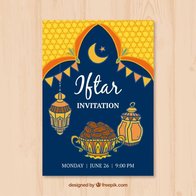 Iftar invitation with food and arabic lamps free vector my freepik iftar invitation with food and arabic lamps free vector stopboris Image collections